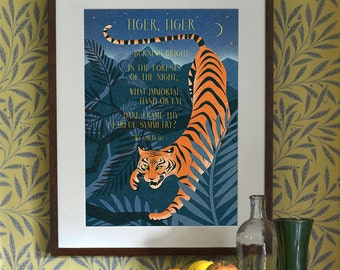Tiger Print Poster Illustration A3 A2 A1 William Blake Quote Art Deco 1940's Vintage Jungle Big Cat Childrens Mid Century