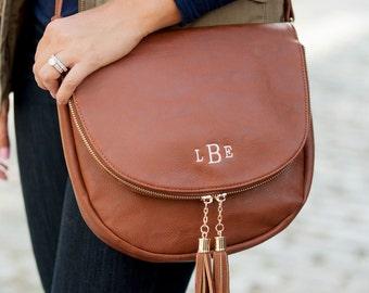 Monogrammed Cross Body Purse Bag Leather Like Monogram Sienna Tassel