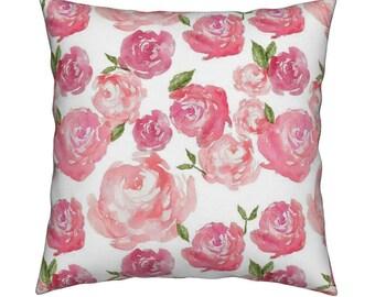 Pink Floral Pillow. Spring Pillow. Decorative Pillow. Pillows. Shabby Chic Pillow Cover. Floral PIllow.