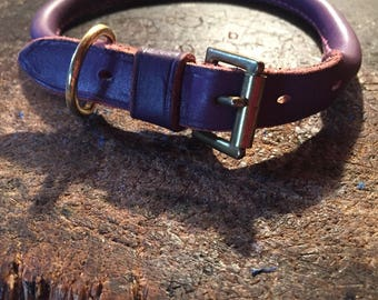 "Purple rolled leather pink stitching dog collar size 13""-16"""