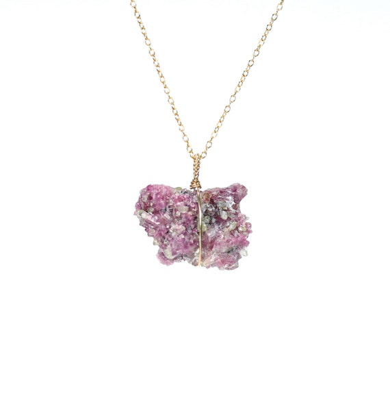 Raw crystal necklace - vesuvianite necklace - idocrase necklace, pink stone, wire wrapped crystal