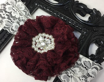 Burgundy headband, wide lace headband, dark maroon lace flower with lace and rhinestones, girls headband burgundy hair accessory