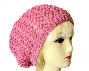 Pink Slouchy Beanie, Cotton Beanie, Slouchy Hat, Pink Hat, Pink Beanie, Cotton Hat, Women's Clothing, Cotton Accessories, Sue Maun