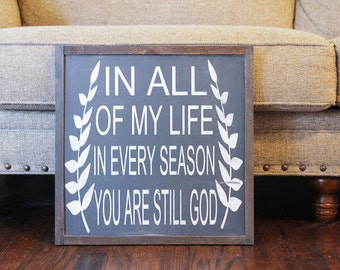 In Every Season wood sign, cozy home decor, strength bible verse, inspirational art