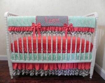 Bumperless Baby Bedding Set Lucretia - Girl Baby Bedding, Mint Crib Bedding, Coral Baby Bedding, Arrow Crib Bedding, Crib Rail Cover