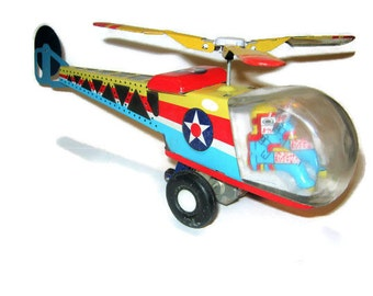 Vintage Reproduction Tin Toy HELICOPTER  Metal Play Toy Tin Litho Whirley Bird 1950s Style Chopper Action