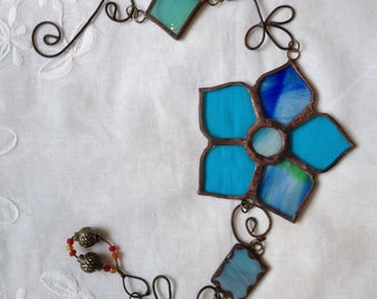 FLOWER MOBILE Blue Colors Wall Hanging,with Beads