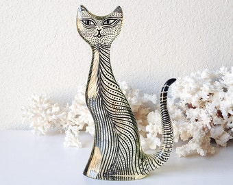 Vintage Palatnik cat mid century lucite kitty sculpture modern op art black white kitten statue