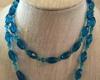 Vintage Blue Faceted Bead Necklace
