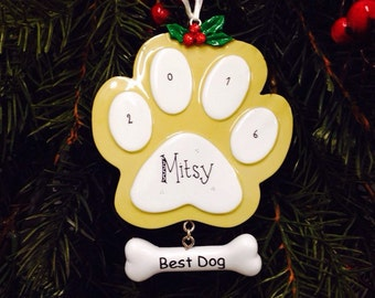 Best Dog Paw Print Ornament / Golden Dog / Personalized Christmas Ornament / Puppy Ornament / Dog Ornament