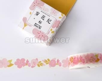 Sakura tape,Washi tape,Floral washi tape,masking tape,Scrapbooking tape,Planner sticker,Wedding deco,Gift wrap