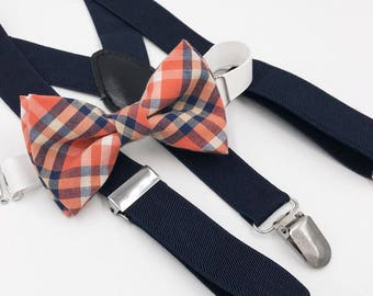 Orange and navy plaid bow-tie & Navy elastic suspender set