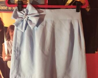80s light blue high waisted skirt