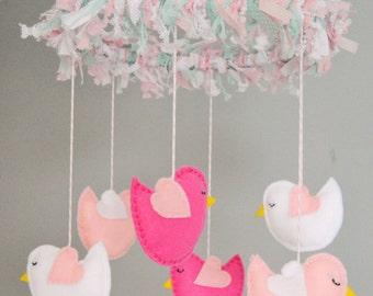 MADE TO ORDER Felt Bird Baby Mobile, Nursery Mobile