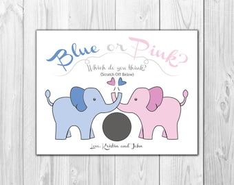Elephant Gender Reveal Scratch Off Cards - Blue or Pink- 4 Cards PLUS 4 Envelopes