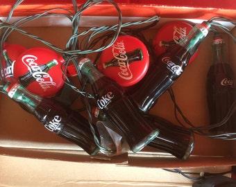 VINTAGE Coca Cola String Lights. Coke String Lights.  10 Lights on String. Bottles and Caps. Electrified Lights.RV Lights. Camper
