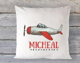 Airplane Pillow, Airplane, Boys Decor, Throw Pillow, Personalized Boys Pillow, Personalized Airplane Pillow, Baby Gift, Baby Pillow, RyElle