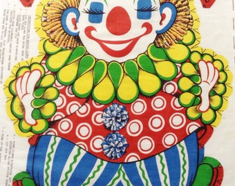 Chester The Clown Fabric Panel, Vintage Fabric Panels, Cut And Sew Toys, Clown Fabric Panels, Sewing Supplies, Craft Supply, Easy Toy Crafts