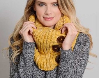 Mustard Yellow Knit Scarf, Knit Infinity Scarf, Chunky Loop Scarf, Knitted Scarves, Womens Scarves, For Her, Christmas Gift, For Girlfriend