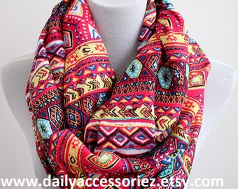 Multicolored Boho Scarf, Bohemian Aztec Infinity Scarf, Christmas Gifts, For Her, For Girls, For Mom, Womens Scarves, Fashion Scarves