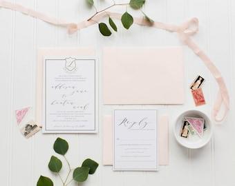 The Keaton Wedding Invitation Suite | Custom Monogram | gold | calligraphy | vintage modern