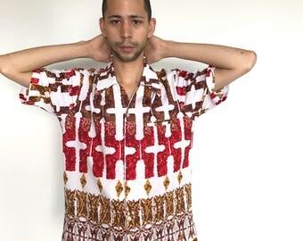 1960s tiki aloha shirt by sears hawaii