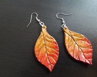 Custom Leather Leaf Earrings