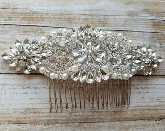 Wedding Hair Comb - Rhinestoen & Pearl Hair Comb - Style H0778CR