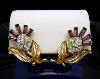Crown Trifari Purple Baguette Thistle Earrings Gold Tone Pave Set Rhinestones