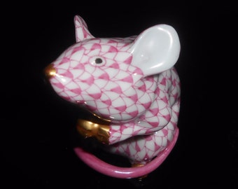 "Herend Mouse Pink Fishnet 2.5"" Fabulous Color!"