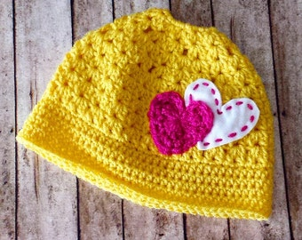 Handmade Crochet Yellow Bunhat with Pink and White Hearts, Messy Bun Hat