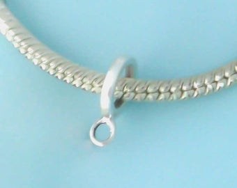 Sterling Silver Thin European Spacer Bead with Loop, Converter Dangle Charm Holder, Bail, Made in USA