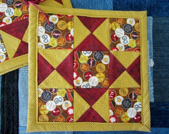 CLOSEOUT Quilted Potholder Pair / Craft Beer