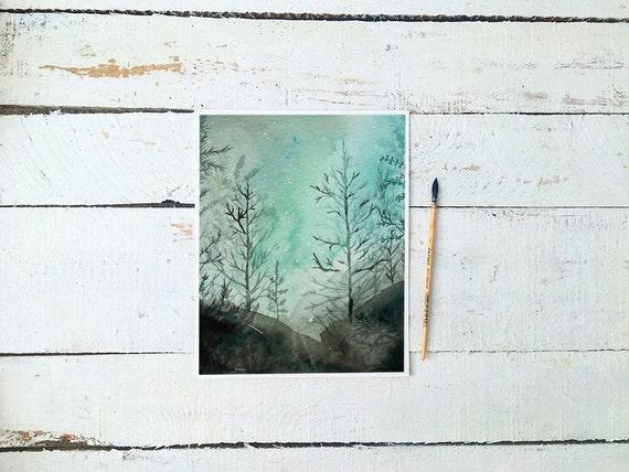 Aqua Night Moon Watercolor Art - Instant Download Print - Watercoloring - Nursery Decor - Watercolor Painting Printable Digital Download