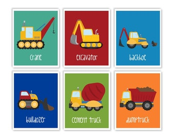 Construction Nursery Prints, Set of 6 signs, Trucks prints, construction decor, kids art prints, Printable posters playroom DIGITAL FILES