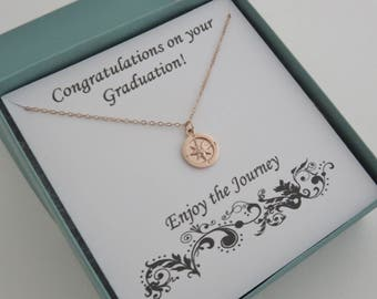 Graduation Gift for Her, Rose Gold Compass Necklace, Enjoy the Journey, graduation jewelry, Retirement Gift for Women, marciahdesigns, mhd