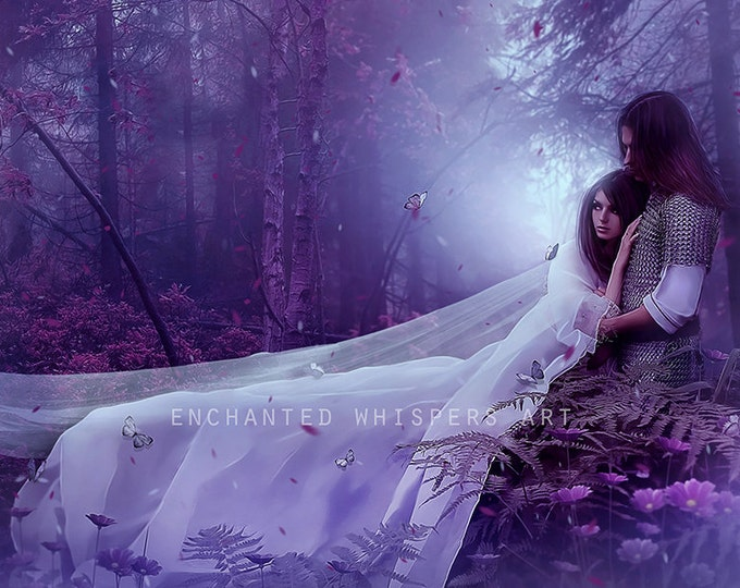 Romantic fantasy couple art print by Enchanted Whispers