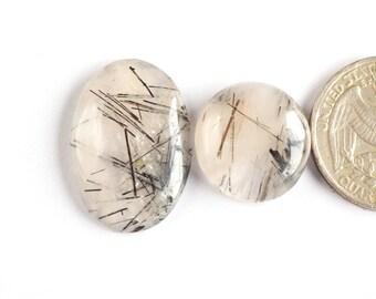 2 Pcs Natural Black Rutile Quartz Cabochon Gemstone,26x18mm,37Cts Jewelry Making Gemstone#3540