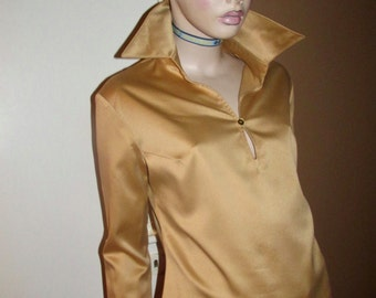 Vintage satin-finish blouse.Italian vintage gold blouse.