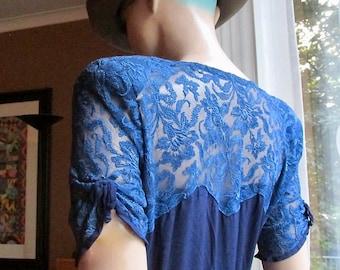 Vintage viscose dress with lace inserts.Vintage blue lace dress.