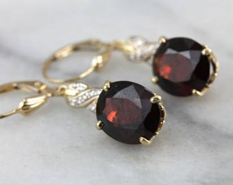 RESERVED - Third Payment - Our Finest Red Garnet and Diamond Drop Earrings D24JLW-N