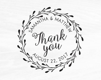 Wedding Stamp, Wedding Favors, Custom Rubber Stamp, DIY Wedding Stamp, Thank you Stamp. Custom Stamp 2x2in, 3x3in, or 4x4in
