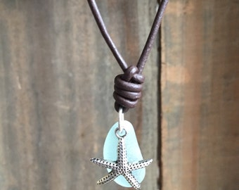 Light Blue Sea glass and Starfish Necklace, Blue Sea Glass Choker, Starfish Necklace, Beach Glass Necklace, Sea Glass Necklace
