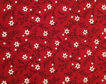 Swedish cotton quilting fabric with floral pattern. New and unused. Scandinavian retro design patchwork and crafts burgundy red