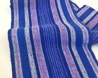 50s Woven Vintage swedish table runner. Blue mod striped pattern mid century modern table runner scandinavian design. Vintage home decor
