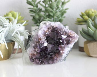 Modern Small Raw Ametrine Geode Crystal Cluster | Raw Crystals | Mineral Cluster | Boho Decor | Specimen | Rock | Geode | Bohemian
