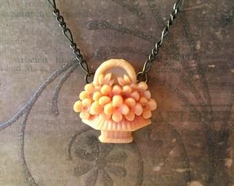 Flower Basket Necklace in Vintage Celluloid