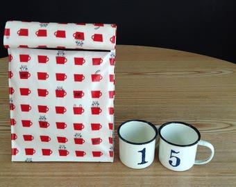 Mug Cat Lunch Bag / Laminated Fabric Lunch Bag /Folding Lunch Bag