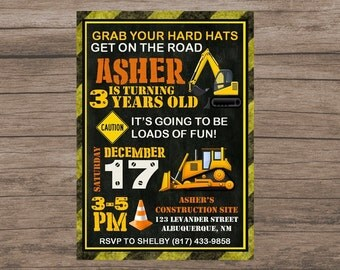 Construction Party Invitation, Construction Birthday Invitation, Under Construction, Digger Birthday Party,  Digital Birthday Invitation