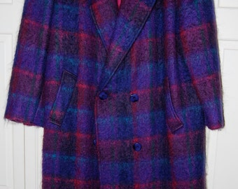 Mohair Plaid Coat by Paul Levy; Vintage 1980s; Size Medium